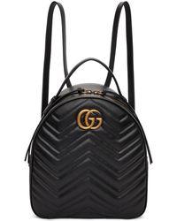 Gucci - ブラック GG マーモント キルト シェブロン バックパック - Lyst