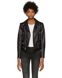 Saint Laurent - Black Leather Classic Moto Jacket - Lyst