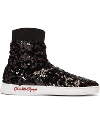 Charlotte Olympia - Black Sequin Sock Trainers - Lyst