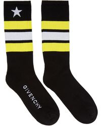 Givenchy | Black Stripes And Star Socks | Lyst