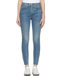 RE/DONE - Blue Originals High-rise Ankle Crop Stretch Jeans - Lyst