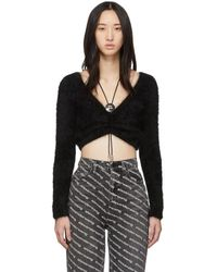 Alexander Wang - Black Cropped Bolo V-neck Sweater - Lyst