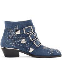 Chloé - Blue Suede Susanna Ankle Boots - Lyst