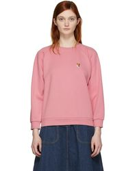 Maison Kitsuné - Ssense Exclusive Pink Fox Head Patch Sweatshirt - Lyst