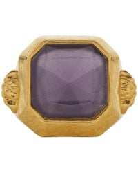 Versace - Gold And Purple Gem Ring - Lyst