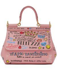 Dolce & Gabbana - Pink Small Graffiti Miss Sicily Bag - Lyst