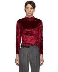 Maison Margiela - Burgundy Velvet Mock Neck Sweater - Lyst