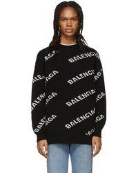 Balenciaga - Black And White Oversized Logo Sweater - Lyst