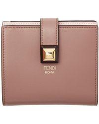 Fendi - Pink Stud Foldover Wallet - Lyst