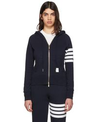 Thom Browne - Navy Classic Four Bar Full Zip Hoodie - Lyst