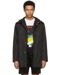 Prada - Black Hooded Side Zip Coat - Lyst