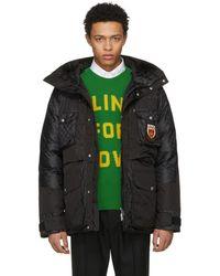 Gucci - Black Down Gg Coat - Lyst