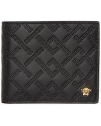 Versace - Black Greek Key Wallet - Lyst