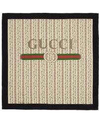 Gucci - Ivory Silk Flowers Scarf - Lyst