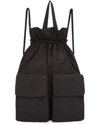 Y's Yohji Yamamoto | Black Taffeta Drawstring Backpack | Lyst