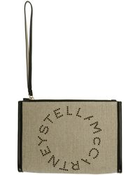 Stella McCartney Pochette à logo en lin c8jEFWg4gT