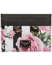 Dolce & Gabbana - Black Stripes And Flowers Card Holder - Lyst