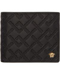 Versace   Black Embossed Greek Wallet   Lyst