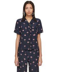 Miu Miu - Chemise fleurie a pois bleu marine Pyjama - Lyst