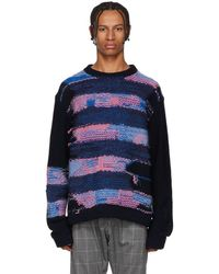 Acne Studios - Navy And Purple Irregular Striped Crewneck Sweater - Lyst