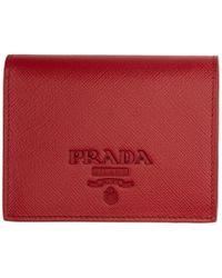 Prada - Red Saffiano Logo Wallet - Lyst