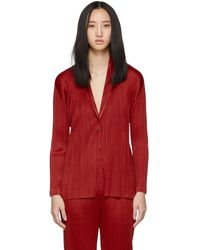 Pleats Please Issey Miyake - Red Pleated Blazer - Lyst