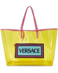 Versace - Yellow Logo Pvc Tote Bag - Lyst