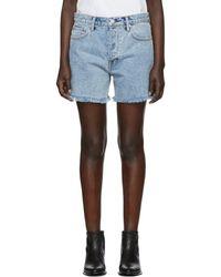Helmut Lang - Blue Denim Boy Fit Cut-off Shorts - Lyst