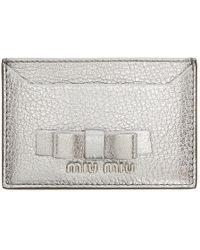 Miu Miu - Silver Bow Card Holder - Lyst