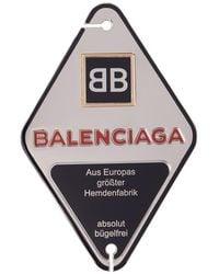 Balenciaga - Silver And Navy Diamond Stamp Badge Brooch - Lyst
