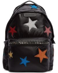 Stella McCartney - Black Glitter Stars Falabella Backpack - Lyst
