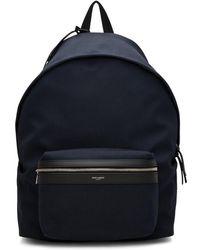 Saint Laurent - Navy Canvas City Backpack - Lyst
