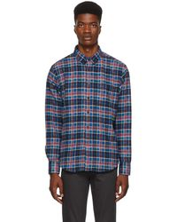 Naked & Famous - Blue And Pink Rustic Flannel Shirt - Lyst