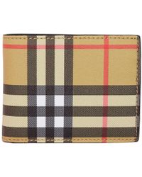 Burberry - Beige And Black Vintage Check Hipfold Wallet - Lyst