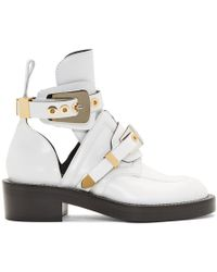 Balenciaga - White Leather Buckle Boots - Lyst