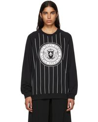 Balmain - Black Striped Baseball Sweatshirt - Lyst