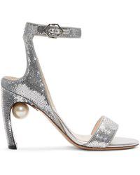 Nicholas Kirkwood - Silver Sequin Lola Pearl Sandals - Lyst