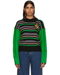 JW Anderson - Green Striped Deconstructed Crewneck Sweater - Lyst