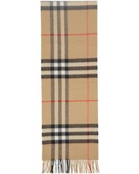 Burberry - Foulard a carreaux beige The Classic Cashmere - Lyst