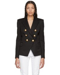 Balmain - Black Six-button Cinched Blazer - Lyst