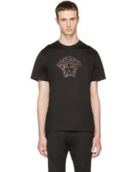 Versace | Black Small Studded Medusa T-shirt | Lyst