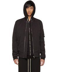 Rick Owens Drkshdw - Black Cotton & Nylon Flight Jacket - Lyst