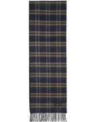 Loewe - Navy And Brown Checks Scarf - Lyst
