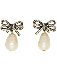Marc Jacobs - Gold Small Faux-pearl Bow Earrings - Lyst