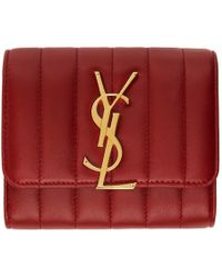 Saint Laurent - Red Vicky Compact Trifold Wallet - Lyst