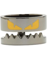 Fendi - Gunmetal Bag Bug Ring - Lyst