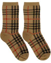 Burberry - Beige Vintage Check Socks - Lyst
