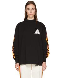 Palm Angels - Black Long Sleeve Palms And Flames T-shirt - Lyst