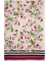 Dolce & Gabbana - Pink Floral Scarf - Lyst