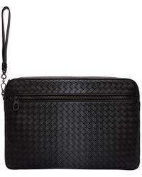Bottega Veneta - Black Intrecciato Galaxy Front Zip Pouch - Lyst